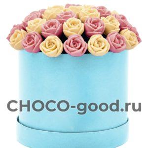 купить шляпную коробку из шоколадных роз
