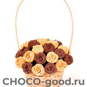купить корзинку из двадцати семи шоколадных роз